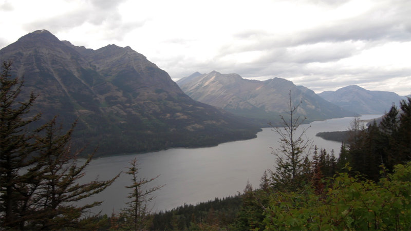 Looking at Waterton Lake from the end of the Goat Haunt Overlook trail