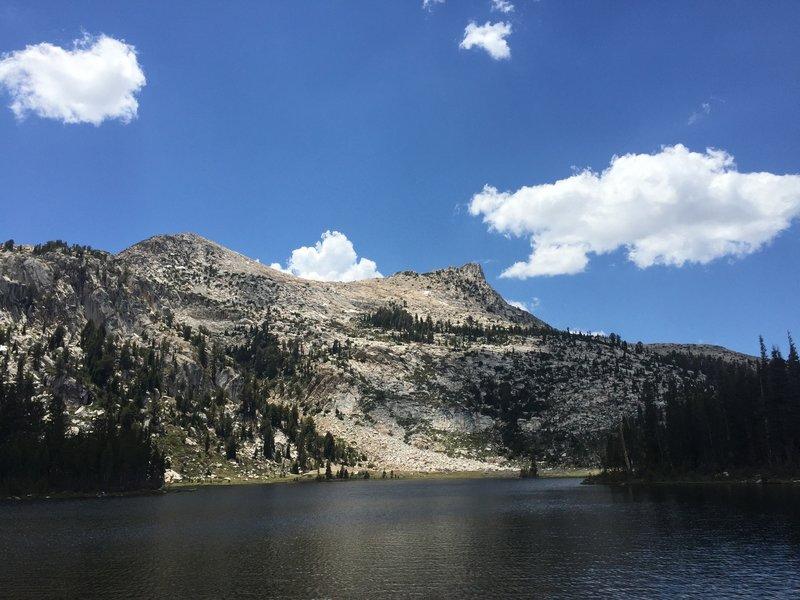 Clouds pass overhead as Elizabeth Lake sits below Unicorn Peak.