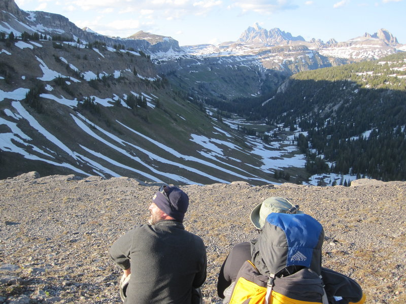 Contemplating a way down into Death Canyon; snowed in - June 2012.