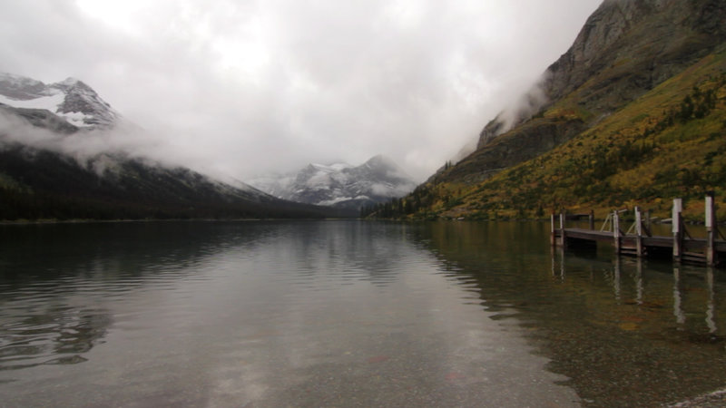 Cloudy fall day at the boat dock on Lake Josephine.
