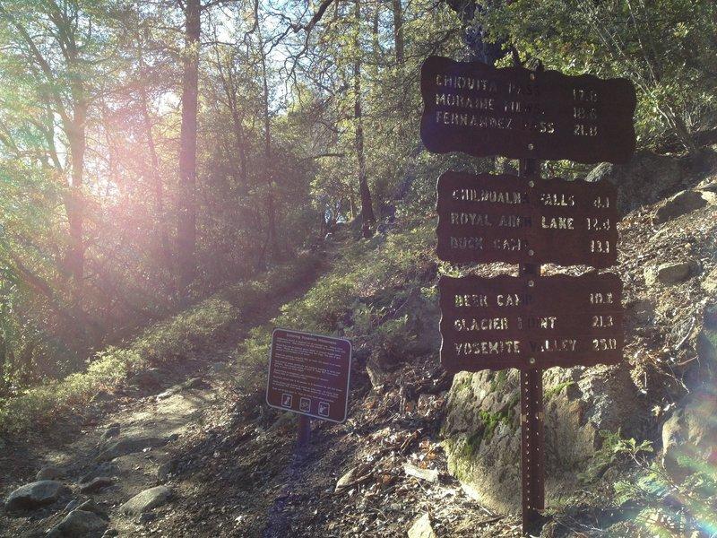Trail signs at the Chilnualna Falls Trailhead.