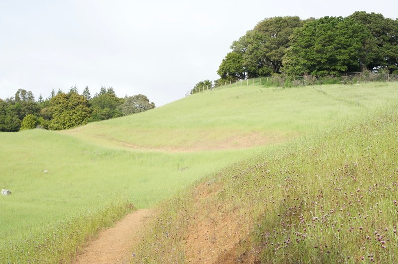 The trail wraps along the hillsides.