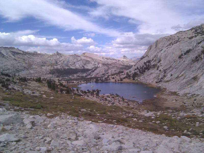 Backpacking in Yosemite - overlooking Vogelsang Lake.