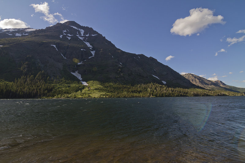 View of Rising Wolf Mountain and Two Medicine Lake from Paradise Point.