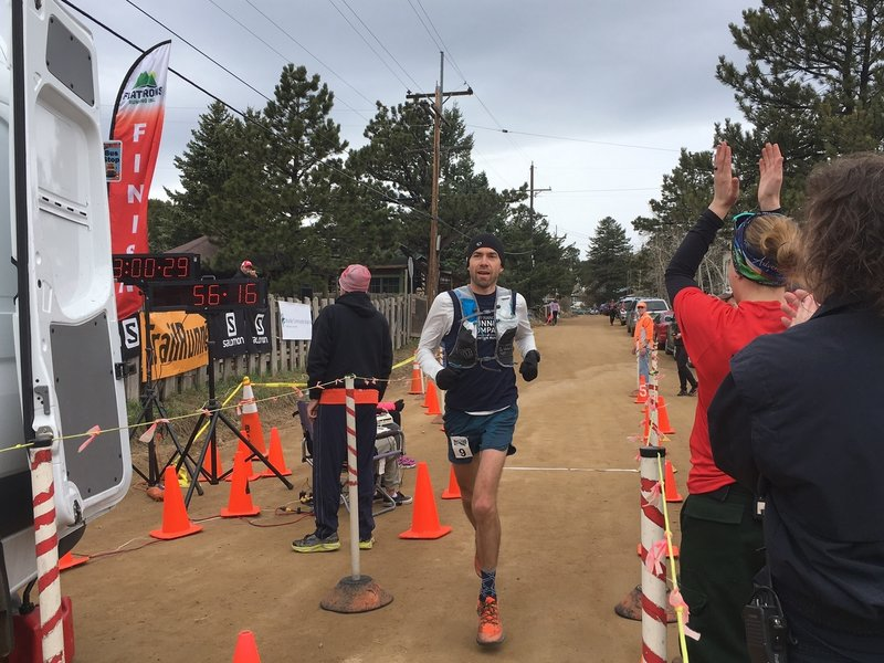 Galen Burrell takes the win in the 1st Boulder Mountain Marathon with a fast time of 3:00:20. Photo - Michelle Smith