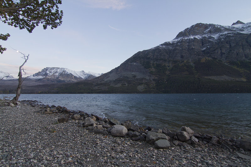 Views of St. Mary Lake from the shoreline.