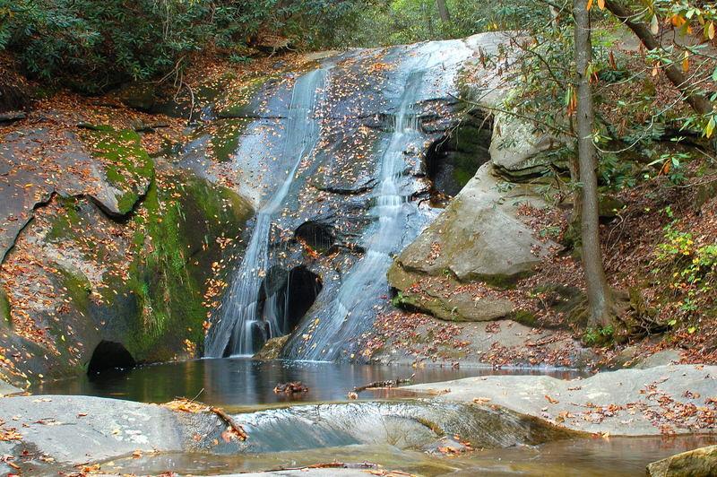Widows Creek Falls, Stone Mountain State Park, on MST Segment 6. Photo by Joe Mickey.