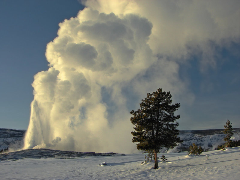 Upper Geyser Basin - Old Faithful in the winter. with permission from walkaboutwest *No Commercial Use