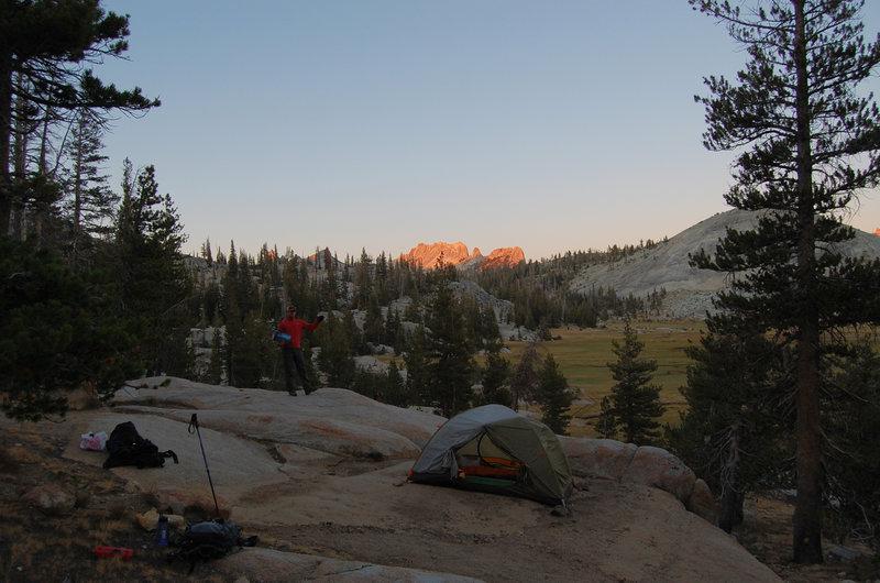 Brilliant sunrises reward the camp's early risers