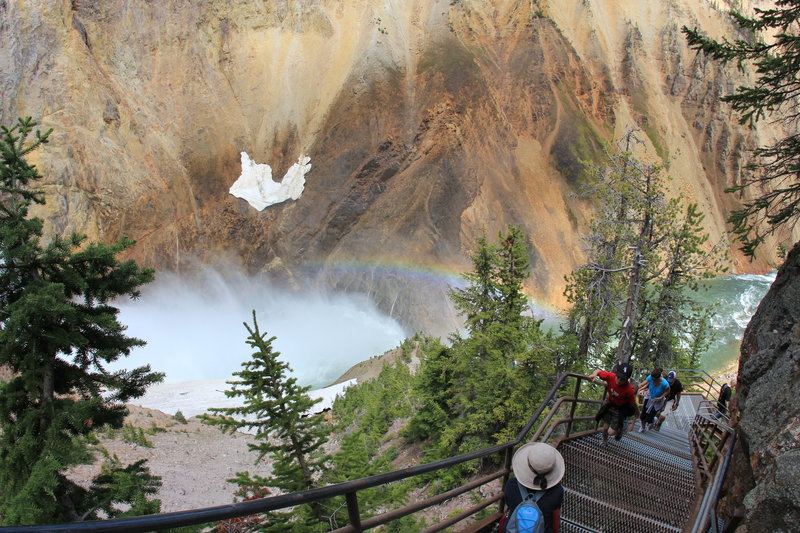 Rainbow over the yellow canyon, and the steep stairs on Uncle Tom's Trail.