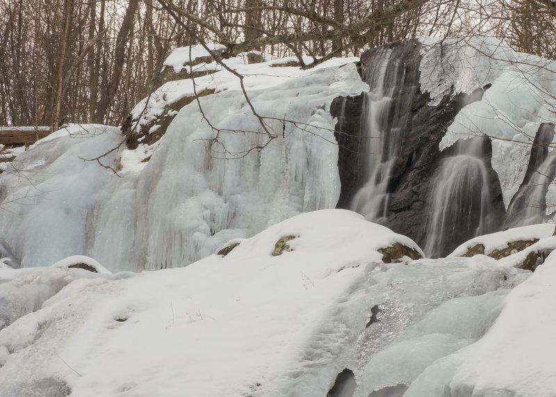 Dark Hollow Falls, frozen over in the winter.