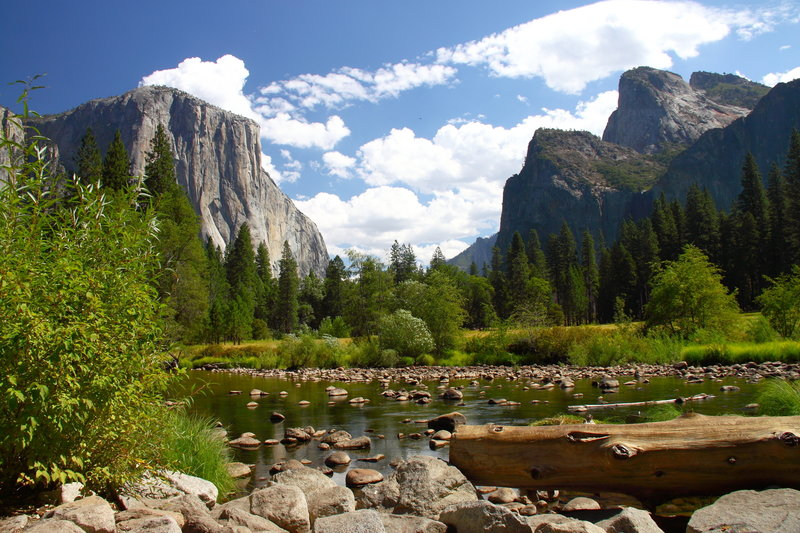Valley View of Yosemite Valley - El Capitan and Three Brothers.