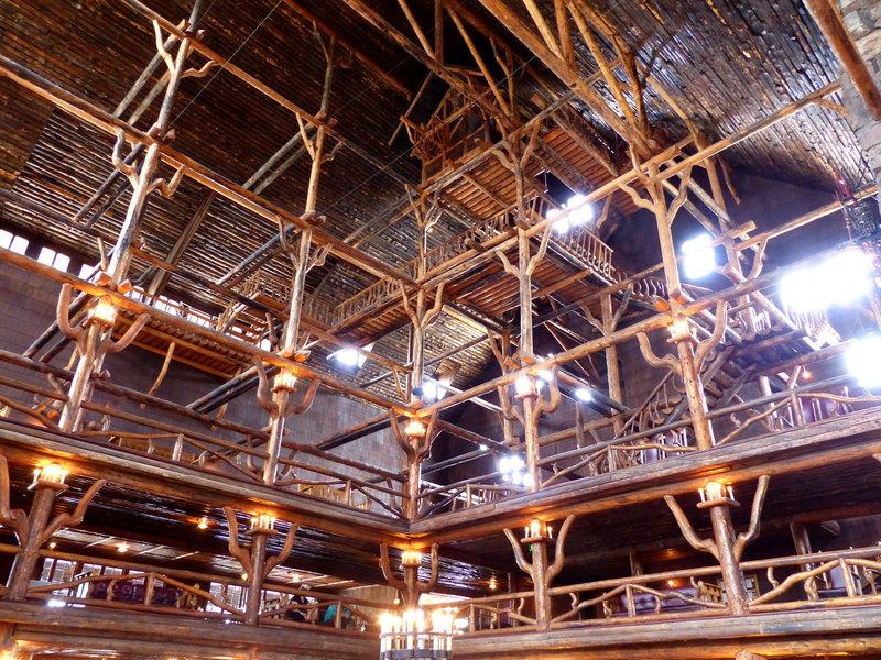 The spectacular lobby of the Old Faithful Inn.