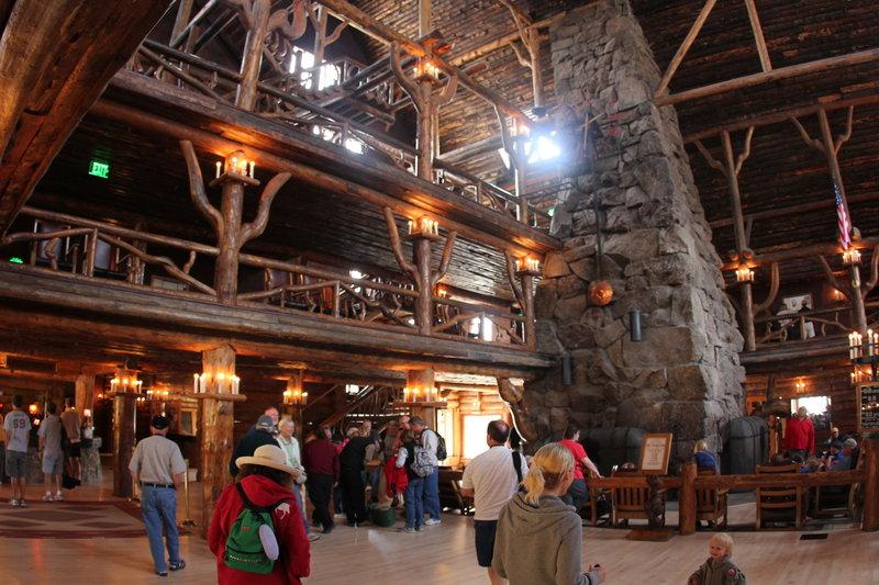 Inside Old Faithful Inn.