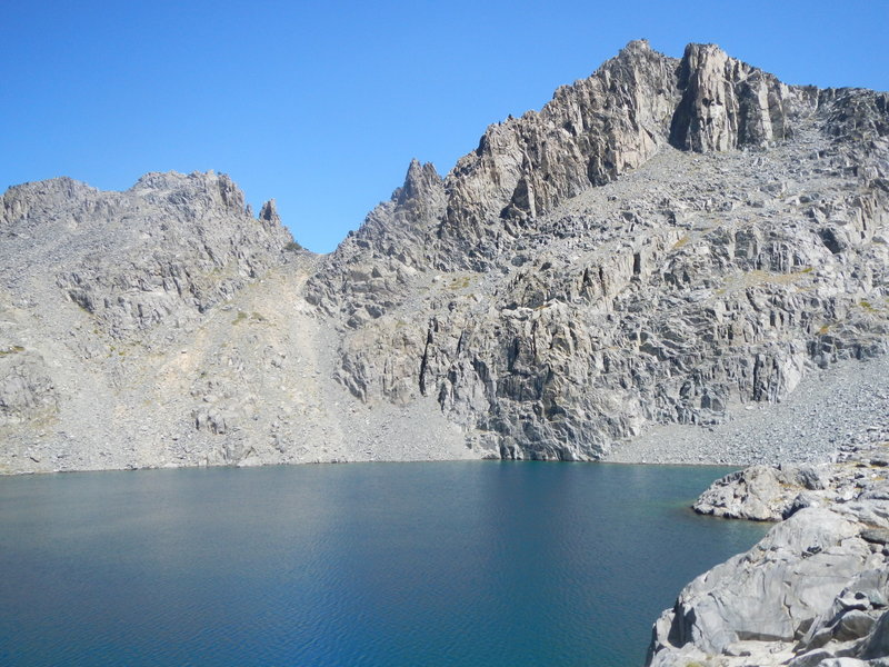 View of Iron Lake with Iron Mountain towering in the background.