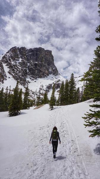 Trail between Dream Lake and Emerald Lake - snowy trail mid-May, but made it fine without microspikes.