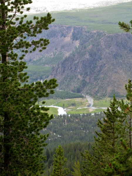 National Park Mountain and the confluence of the Firehole and Gibbon Rivers forming the Madison River.