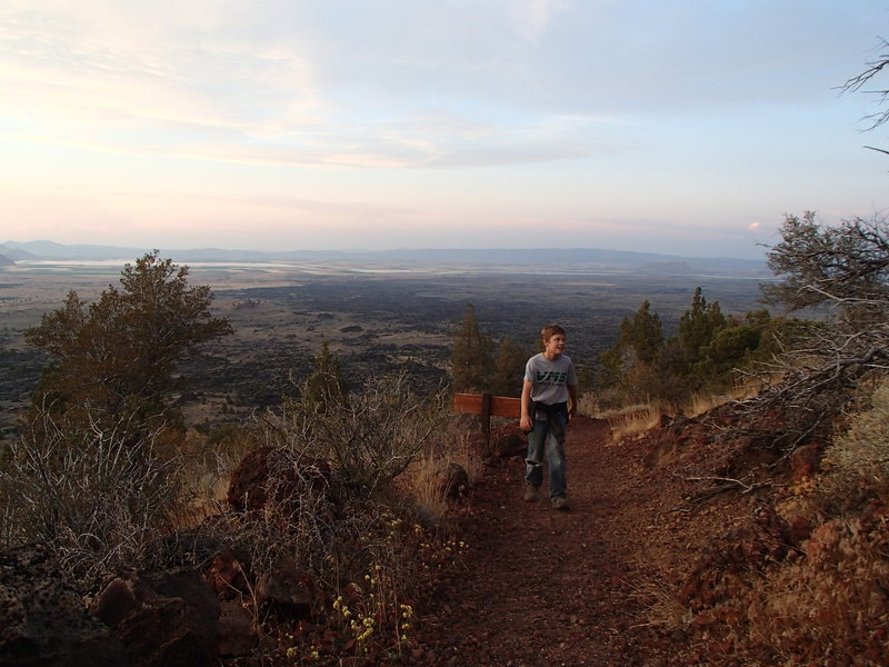 The trail is steep, but short enough that younger hikers have no problem. Tule Lake is visible in the distance.