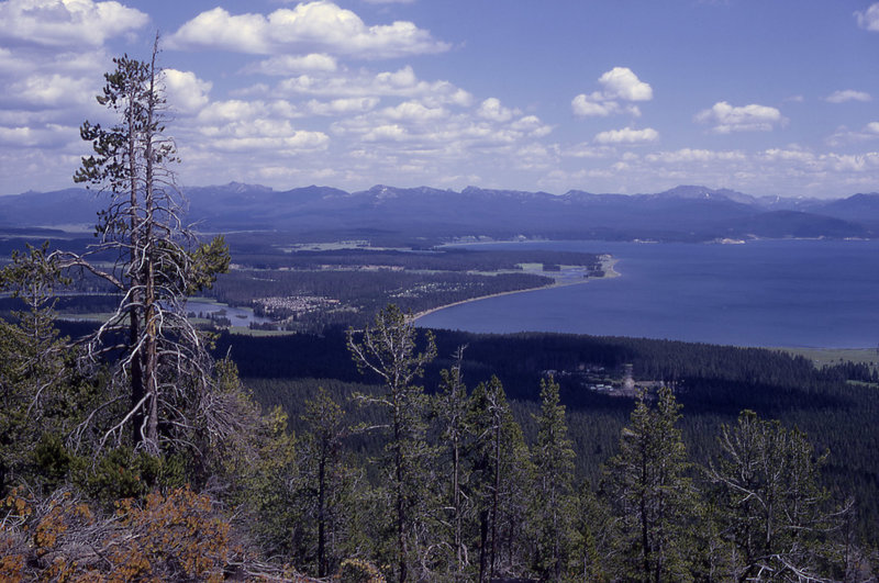 View of Yellowstone Lake, Fishing Bridge Area, and the Absaroka Mountains as seen from Elephant Back Mountain. NPS Photo.