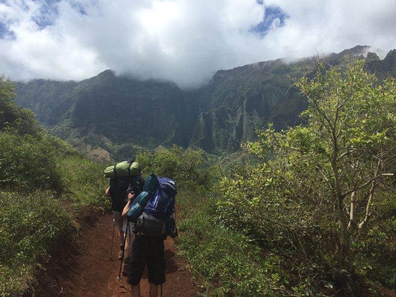 Descent into Kalalau Valley.
