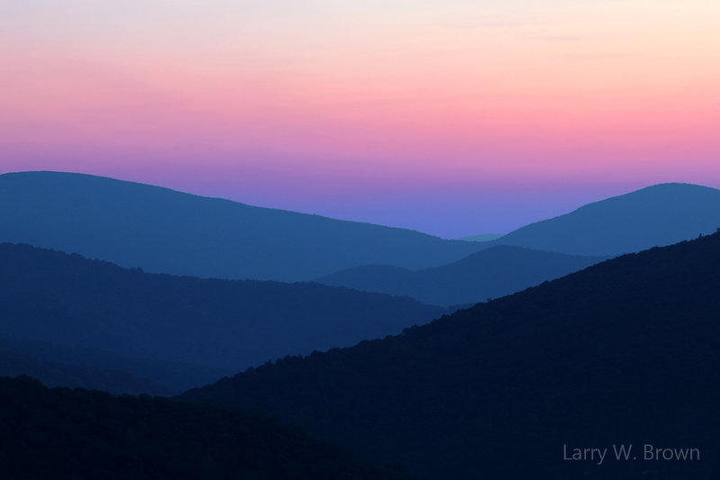 Morning twilight view of the Blue Ridge Mountains from the Tunnel Overlook.