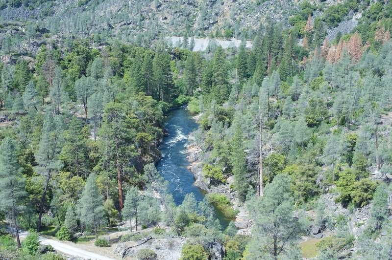 A view of the Tuolumne River as it makes its way below the dam in the spring as water was being released.