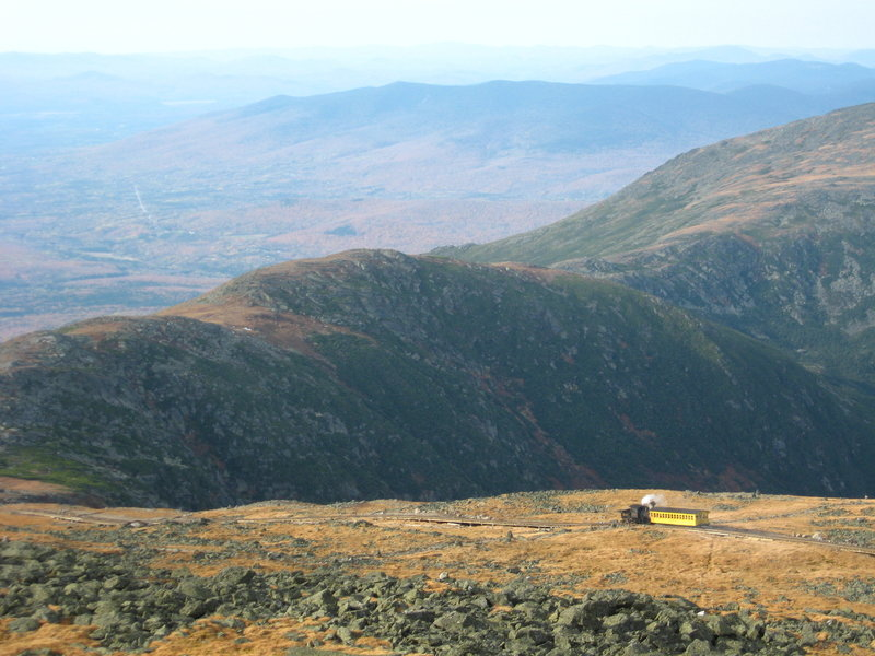 The Cog Railway from the summit.