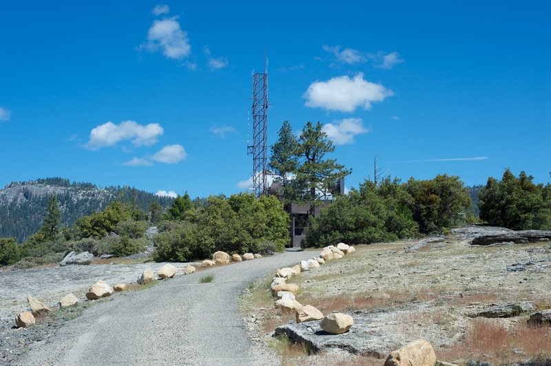 The trail approaches the first set of weather stations on top of Turtleback Dome.