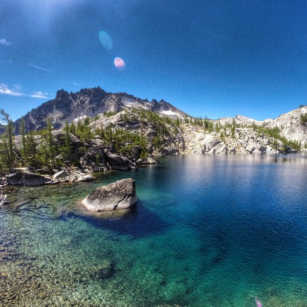 The incredible Lake Viviane in The Enchantments, looking away from Dragontail Peak.