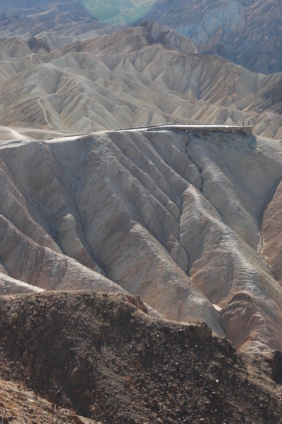 From the Red Cathedral Canyon Trail, view of Zabriskie Point.