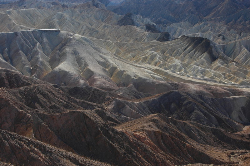 View of Zabriskie Point from the Red Cathedral Canyon Trail.