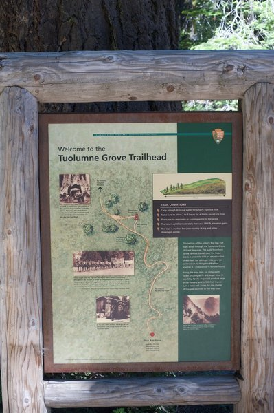 A sign at the trailhead provides information about the trail that you are about to embark upon.