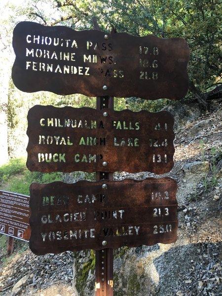 Mileage sign. Chilnualna Falls 4.1 miles.