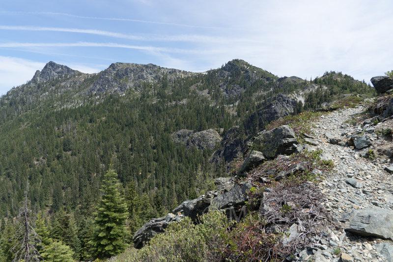 Looking back toward Emily and Buck Peaks.