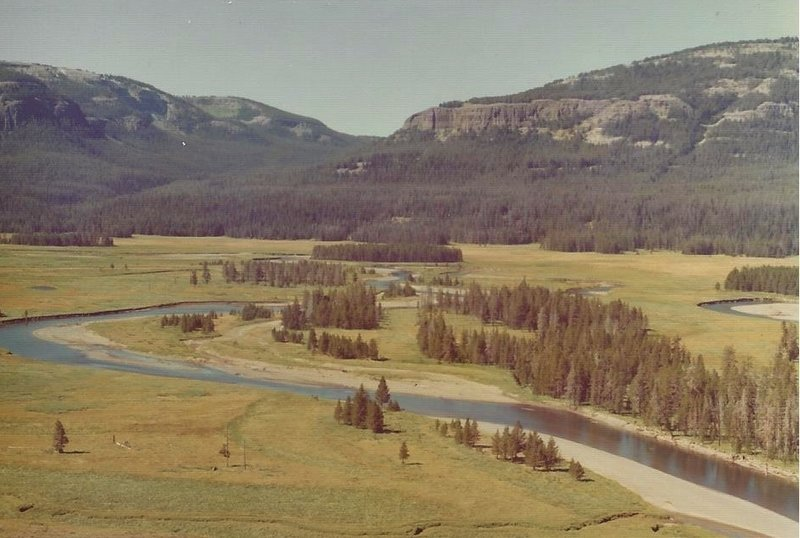 Upper Yellowstone River near Three Mile Bend. Looking southeast toward Two Ocean Plateau and the Lynx Creek drainage.