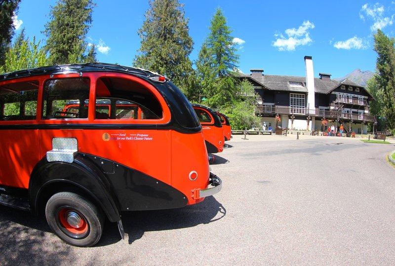 Glacier Park buses at Lake McDonald Lodge.