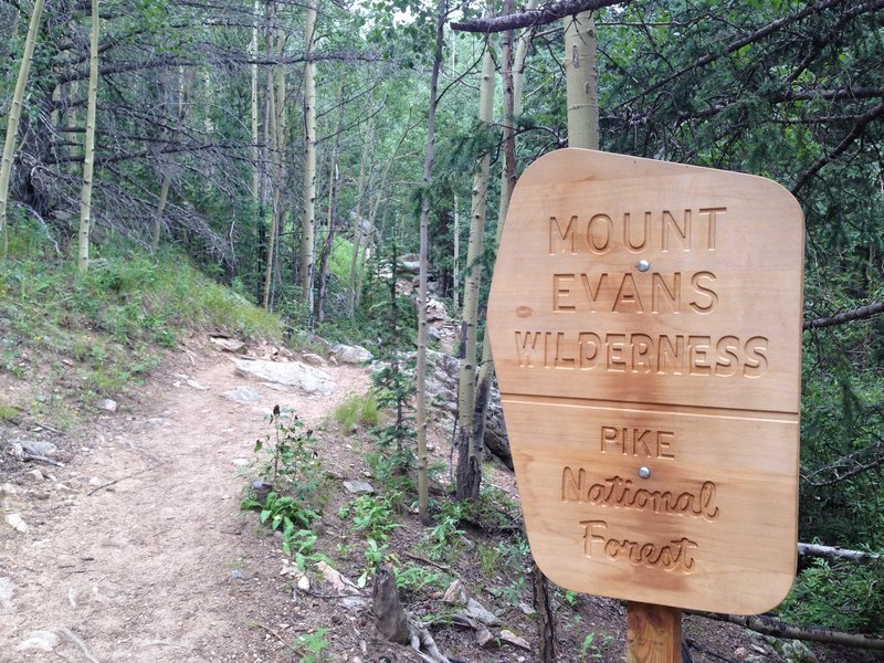 Entering the Mount Evans Wilderness.