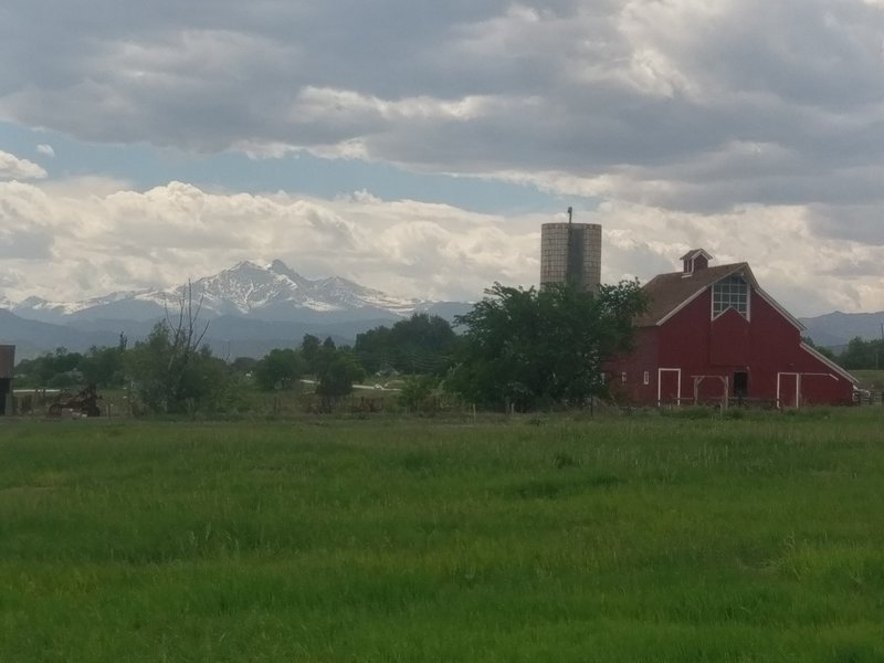 Longs Peak and Mount Meeker behind the Agricultural Heritage Center.