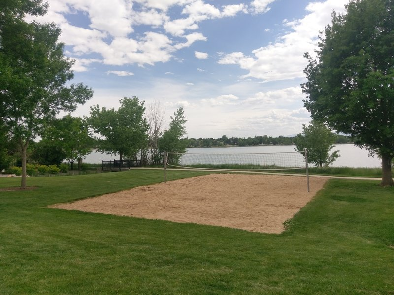 The sand volleyball court next to McIntosh Lake.