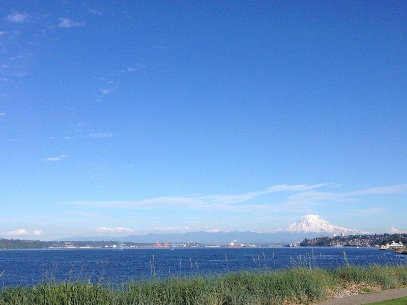 Photo on Jun 6, 2016, looking at the port of Tacoma towards Mt. Rainier.