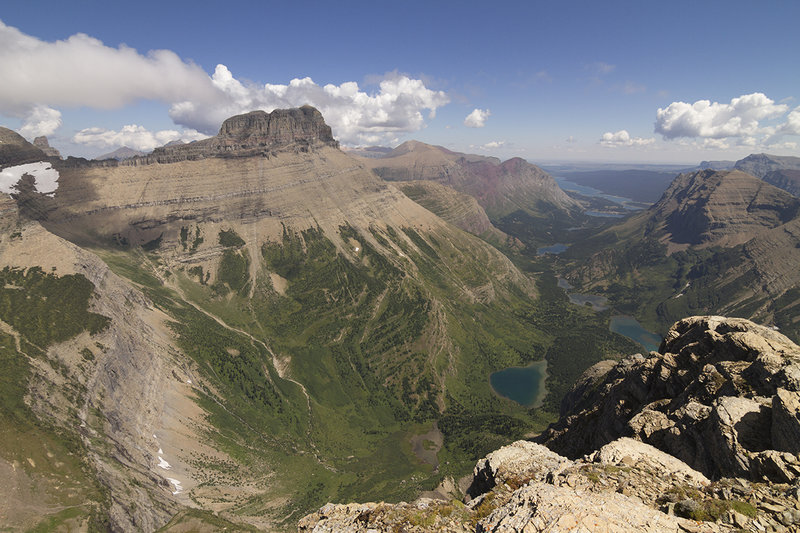 View into the Swiftcurrent drainage from the lookout.