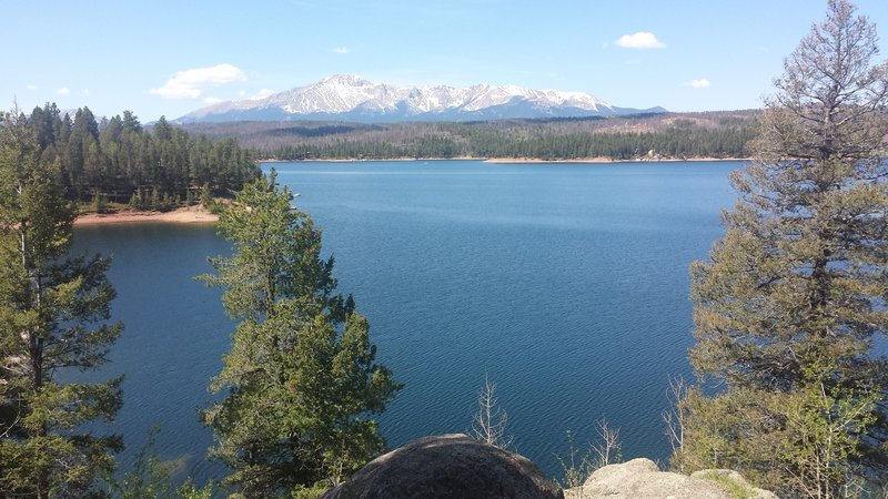 Typical view of Pike's Peak from the east side of the reservoir.