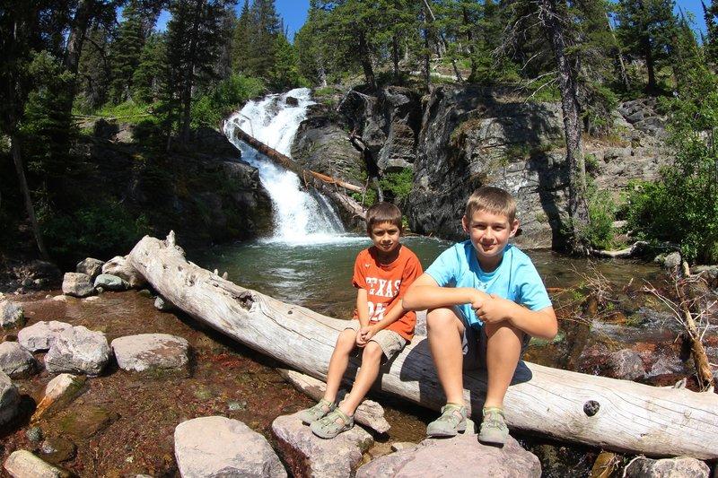 Alex and Gabriel at Twin Falls, Glacier NP