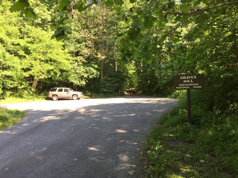The parking area and start of the Graves Mill Trail.