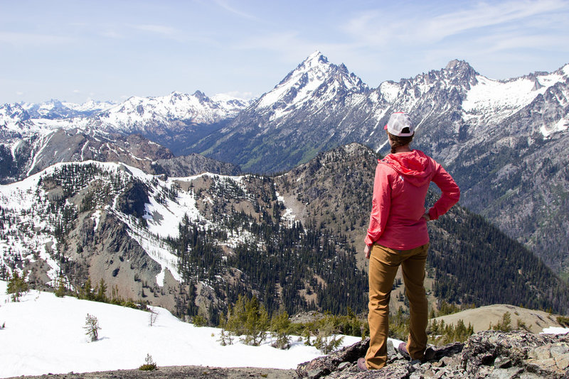 Looking into the Enchantments and Mt. Stuart from the top of Navaho Peak.