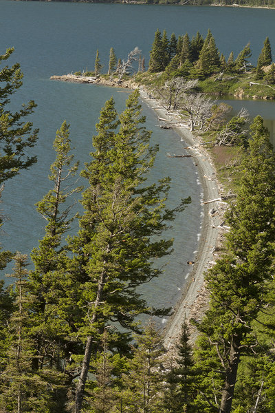 Looking down on Silver Dollar Beach from the St. Mary Lake Trail.