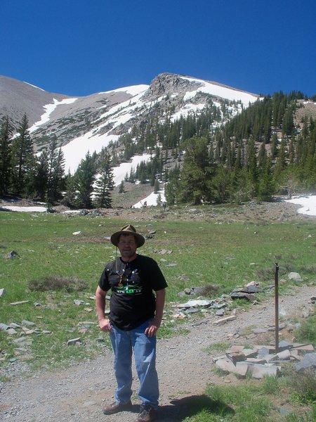 Looking across the meadow toward the summit.