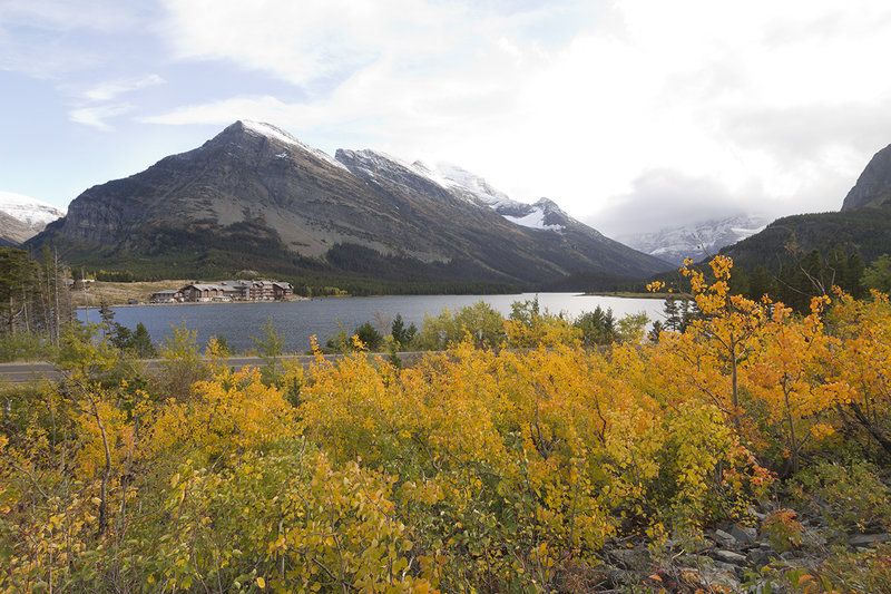 Looking across Swiftcurrent Lake from the Altyn/Henkel stretch of the old Ptarmigan Trail.