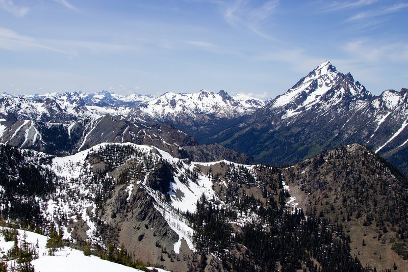 Views of Mt. Stuart and the Enchantments from Navaho Peak.