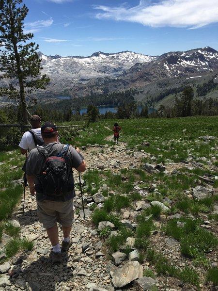 Descending Mt. Tallac toward Gilmore Lake; Jacks Peak, Dicks Peak, and the Desolation Wilderness in the distance.